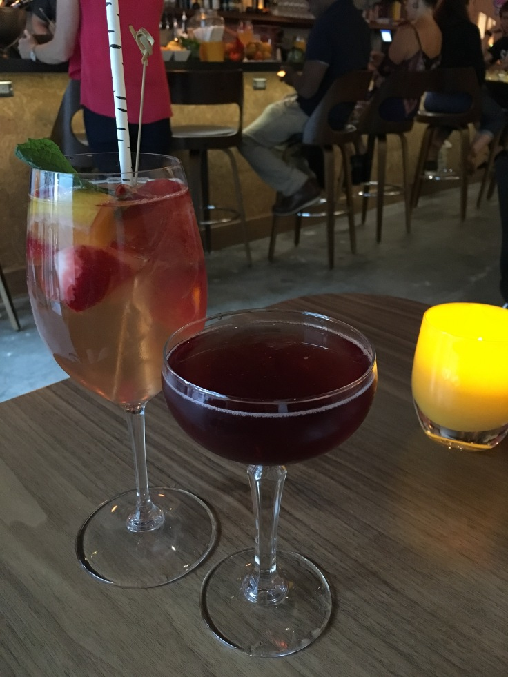 A photo of white sangria and a pretty cocktail at downtown Los Altos, California's newest bar called Honcho. Photo Courtesy of FoodWaterShoes