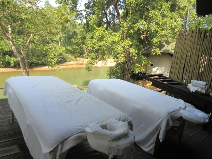 Riverside Massage Tables at Banjaar Tola in India's Kanha National Park