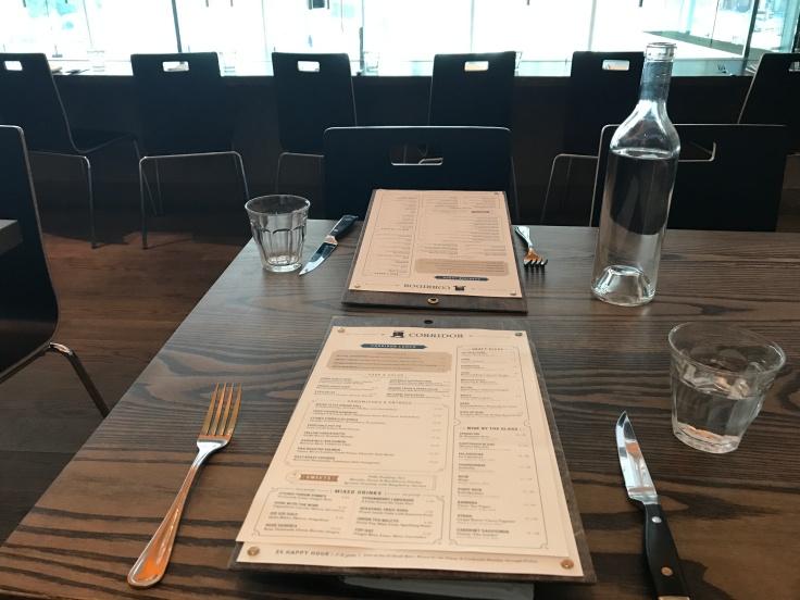 A Menu on a Set Table at Corridor Restaurant in San Francisco, California