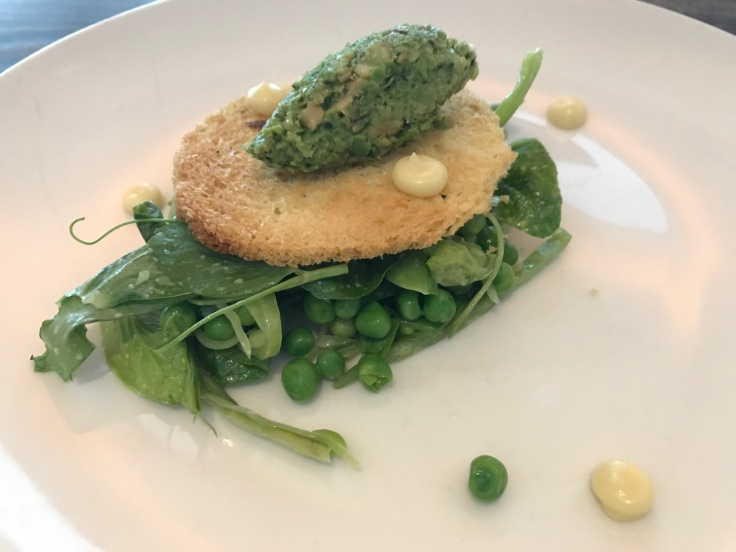 A Salad Made Out of Five Kinds of Peas on a Plate at Corridor Restaurant in San Francisco, California