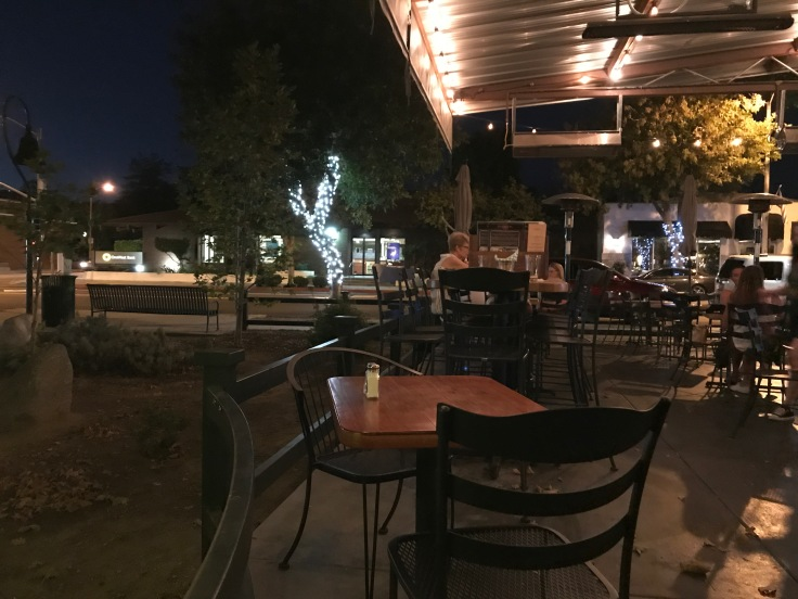 Tables and Chairs Set Up in the Patio at Fourth Street Grill in La Verne, California