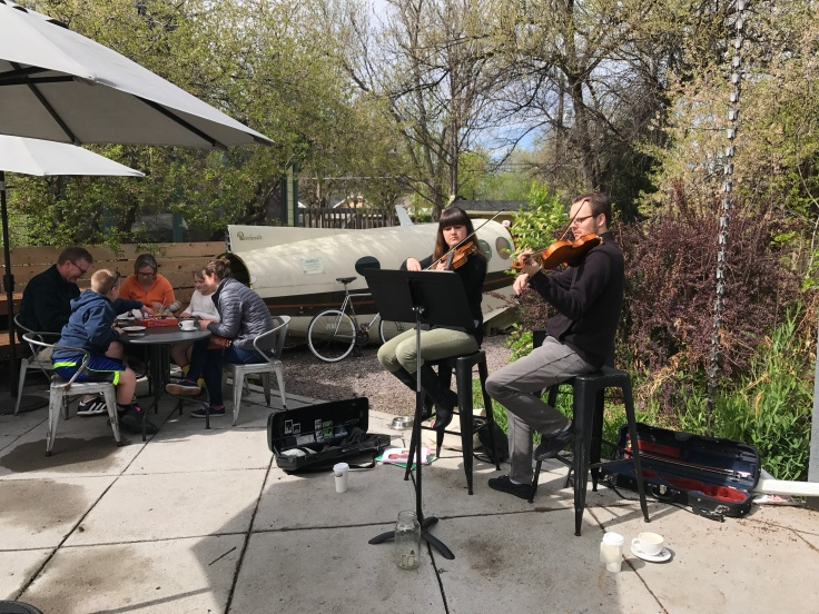 Will Play for Caffeine IVs - Local Musicians Play Beside the Fuselage of a Plane in the Back Patio of Denver, Colorado's Steam Espresso Bar