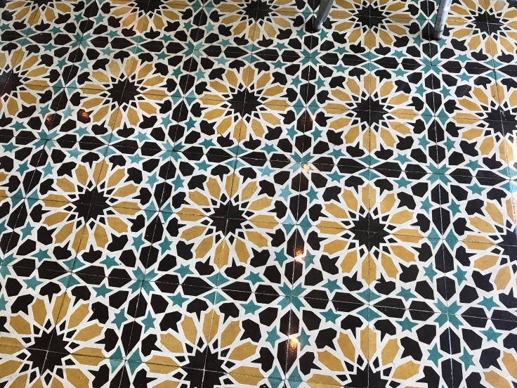 Lovely Sunflower Floor Tiles at Tacolicious in Palo Alto, California