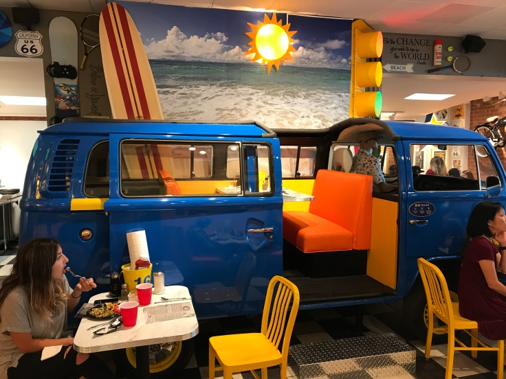 Park the Bus - The Best Seat in the House at Scrambl'z in San Jose, California has to be the Booth in the Old Volkswagen Bus