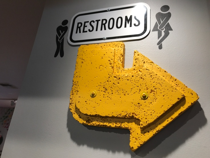 At Scrambl'z in San Jose, California a Bathroom Sign Has Images of Bathroom People Trying to Hold it in