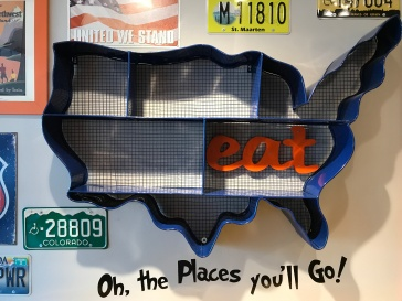 The To-Go Nook at Scrambl'z Features Quotes From Dr. Seuss and License Plates From Different States