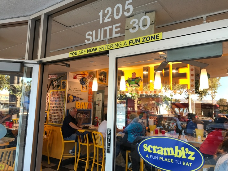 A Street View of the Exterior of Scrambl'z Restaurant in San Jose, California