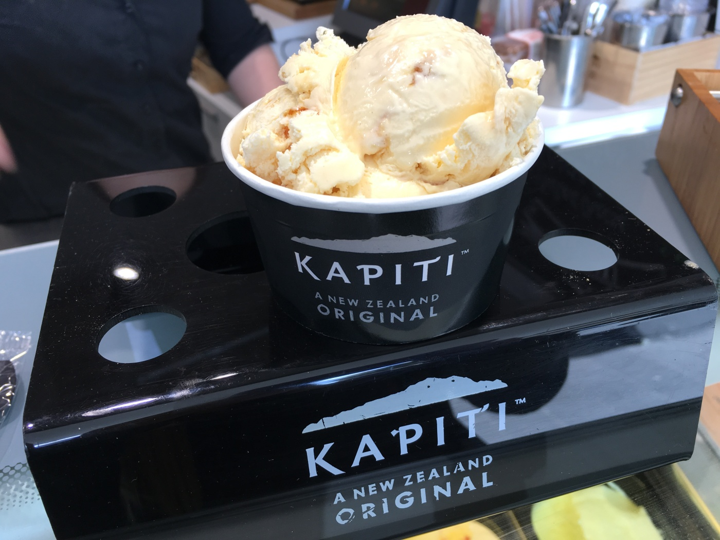 Scoops of Hokey Pokey Ice Cream (Vanilla Ice Cream Combined with Honeycomb Toffee) on the Counter at The Kapiti Store in Auckland, New Zealand
