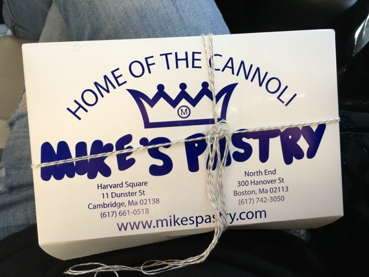 Mike's Pastry's Famous White and Blue Packaging from Boston, Massachusetts