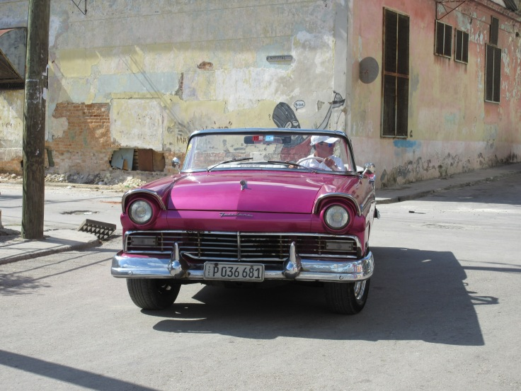 Sharing the Street with Yet Another Cuban Icon - A Gorgeous Hot Pink Ford Fairlane 500