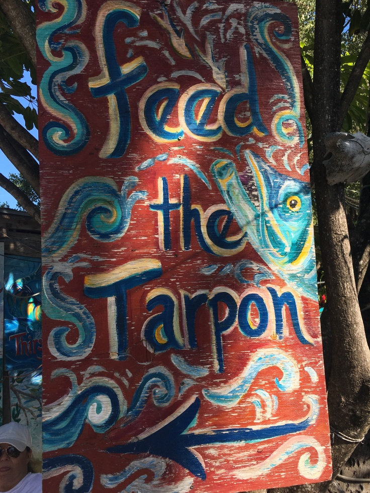 "A Sign at the Hungry Tarpon Reads, ""Feed the Tarpon,"" in Islamorada, Florida in the Florida Keys"