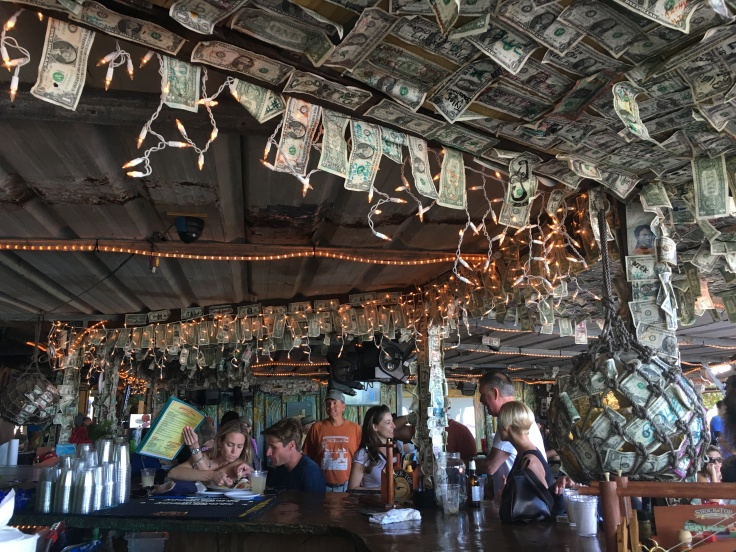 Dollar Bills Decorate The Hungry Tarpon Bar in Islamorada, Florida in the Florida Keys