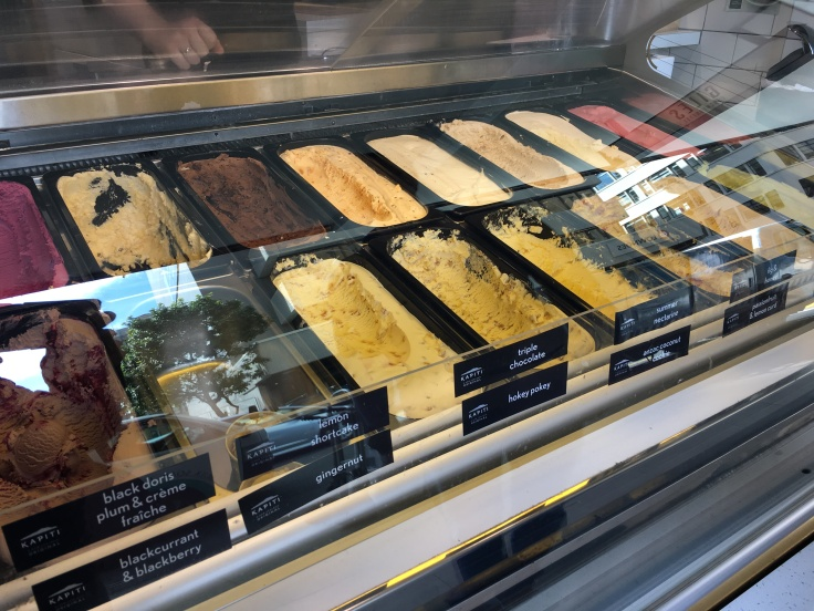 Tubs of Ice Cream in Flavors Like Hokey Pokey and Black Doris Plum & Crème Fraîche on Display at The Kapiti Store in Auckland, New Zealand