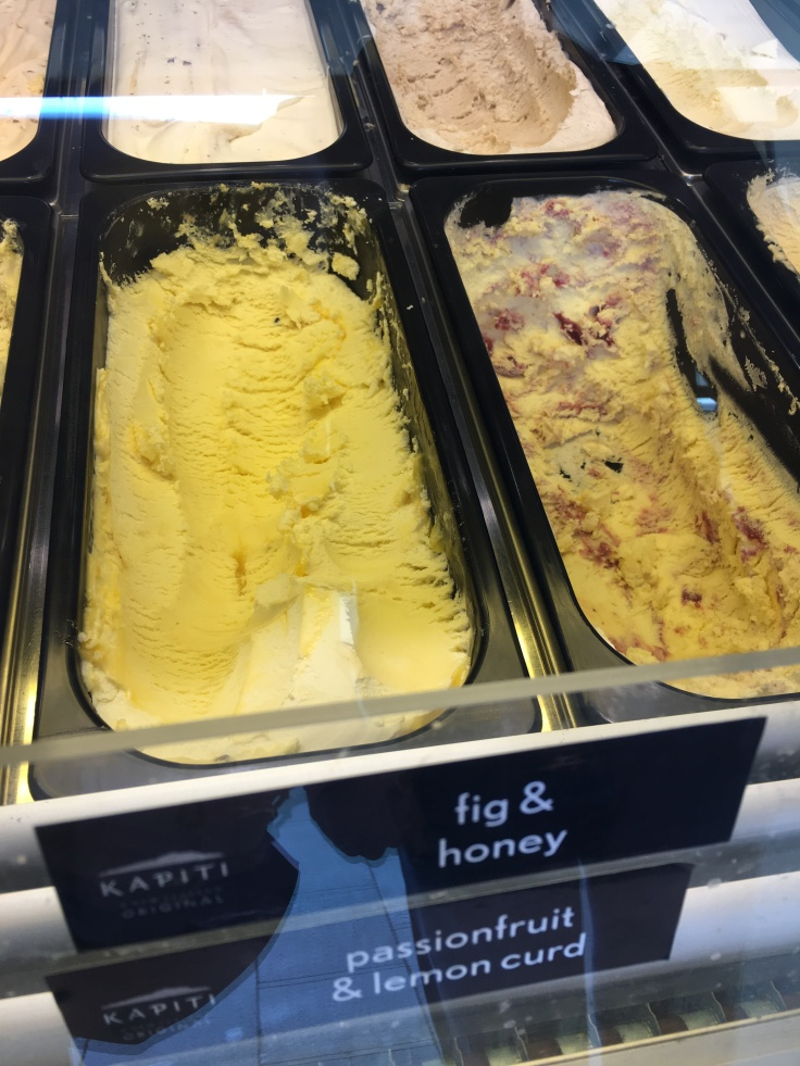 Tubs of Fig & Honey and Passionfruit & Lemon Curd Ice Cream at New Zealand's The Kapiti Store in Auckland