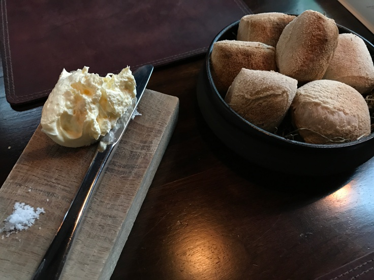 Breaking Bread - Tasty Sourdough Bread with Skyr Butter and Sea Salt at Dill Restaurant in Reykjaviík, Iceland