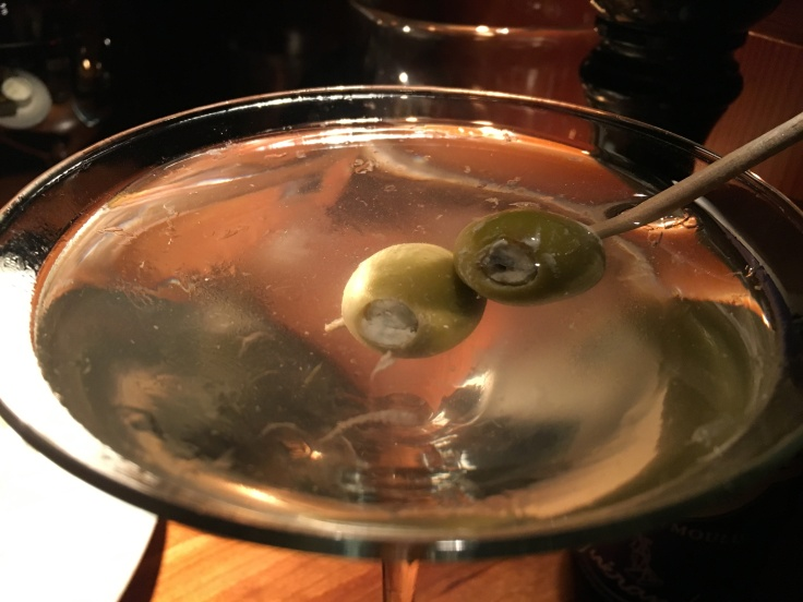 One Martini, Two Martini, Three Martini… A Blue Cheese Stuffed Olive Appetizer and a Side of Martini at Los Altos Grill in Los Altos, California
