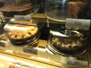 Freisting (Temptation Cake), Döðluterta (Date Cake), Gulrótarkaka (Carrot Cake) and Hrákaka (Raw Vegan Cake) at Kaffi Krús in Selfoss, Iceland