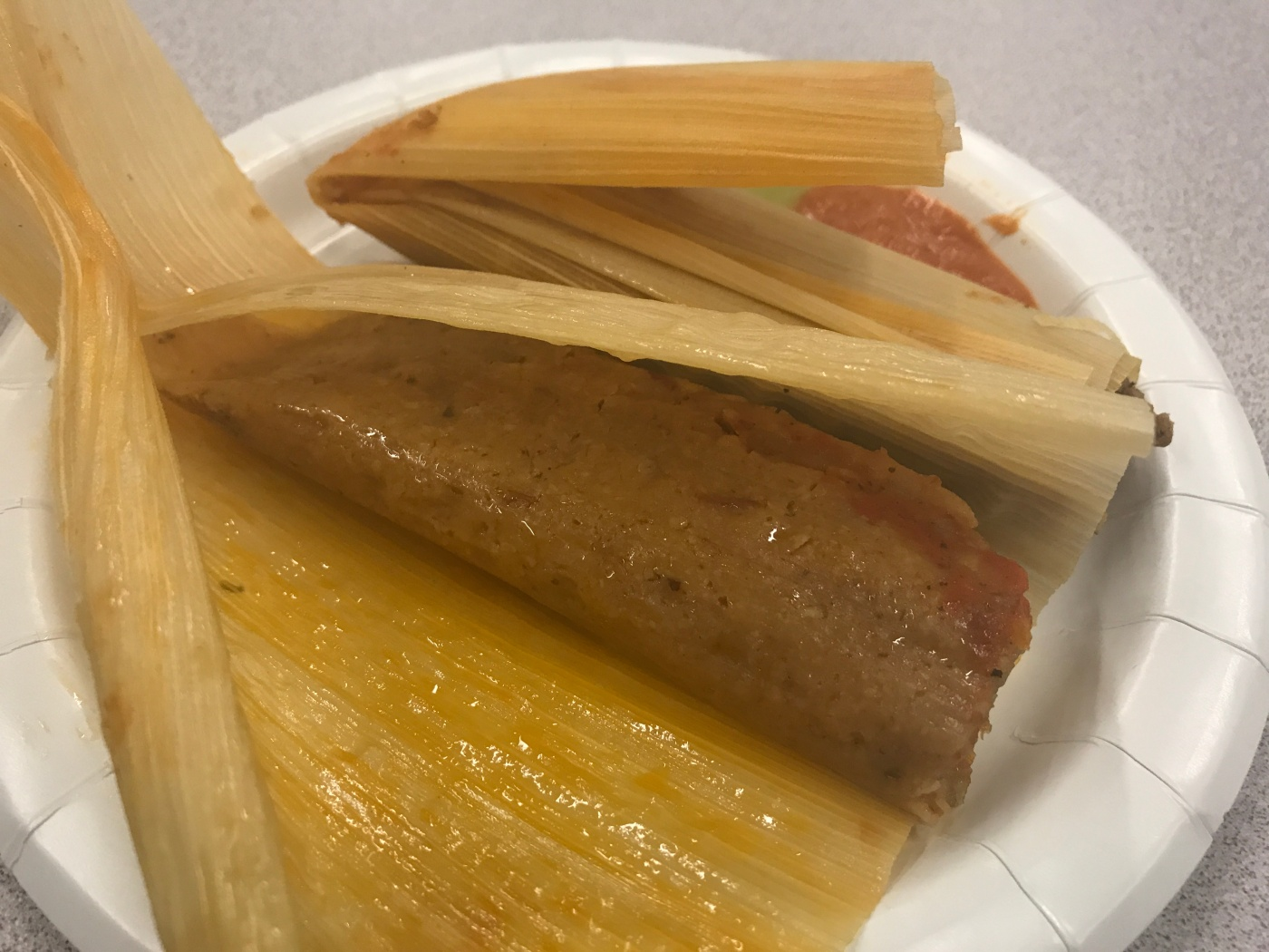 A Delicious Duo of Carnitas Tamales Courtesy of Alicia's Tamales Los Mayas and La Cocina During a Free Saturday Seminar at the University of the Pacific in San Francisco, California
