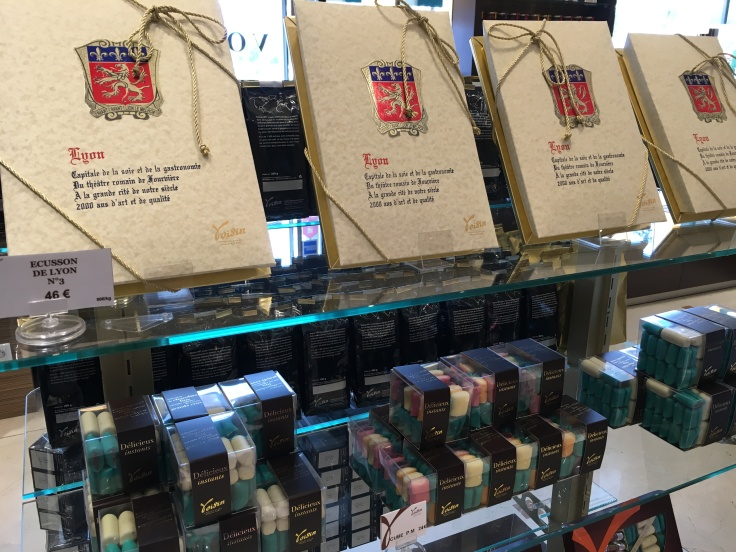 Rich Chocolate History - Displays of Le Coussin de Lyon at Chocolats Voisin in Lyon, France