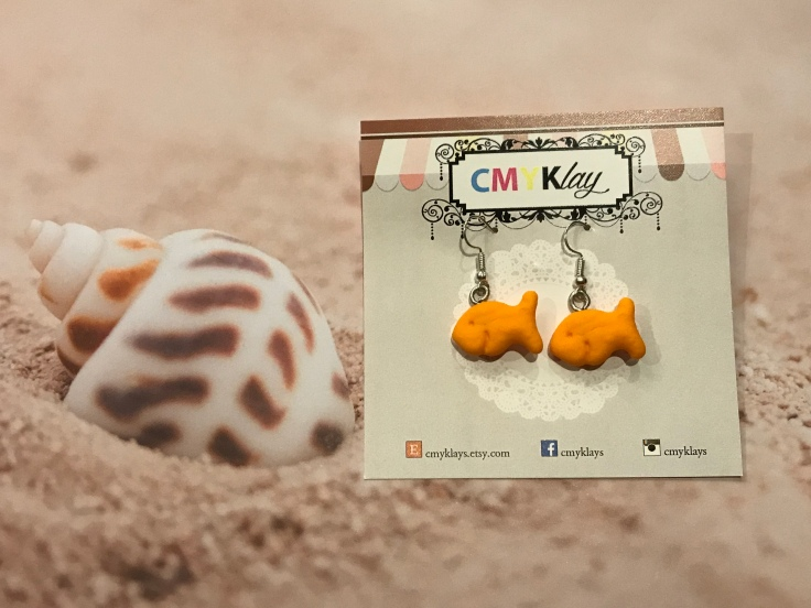 Goldfish Cracker Earrings - We Wish We Went to the Same School as the Super Talented CMYKlays