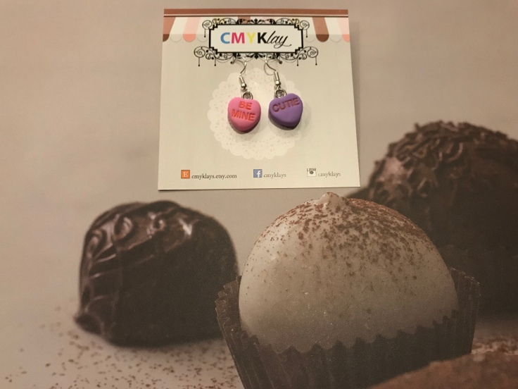 Sweethearts in Love - Conversation Heart Clay Earrings From CMYKlays