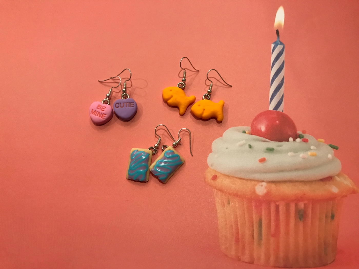 Sweethearts Conversation Heart, Goldfish Cracker and Wild! Berry Pop-Tart Earrings From CMYKlays Jewelry