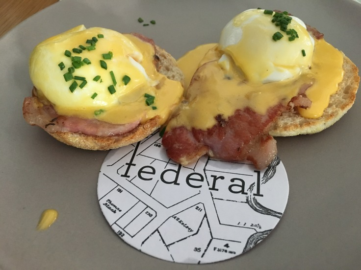 Egg-Cellent - Eggs Benedict with Bacon at Federal in Madrid, Spain