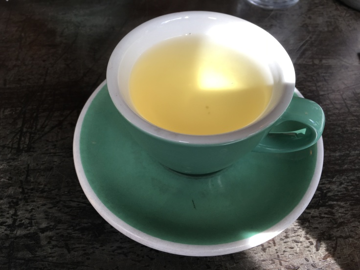 Tea Time - A Cup of Kawakawa Fire at The Chop Shop Food Merchants in Arrowtown, New Zealand