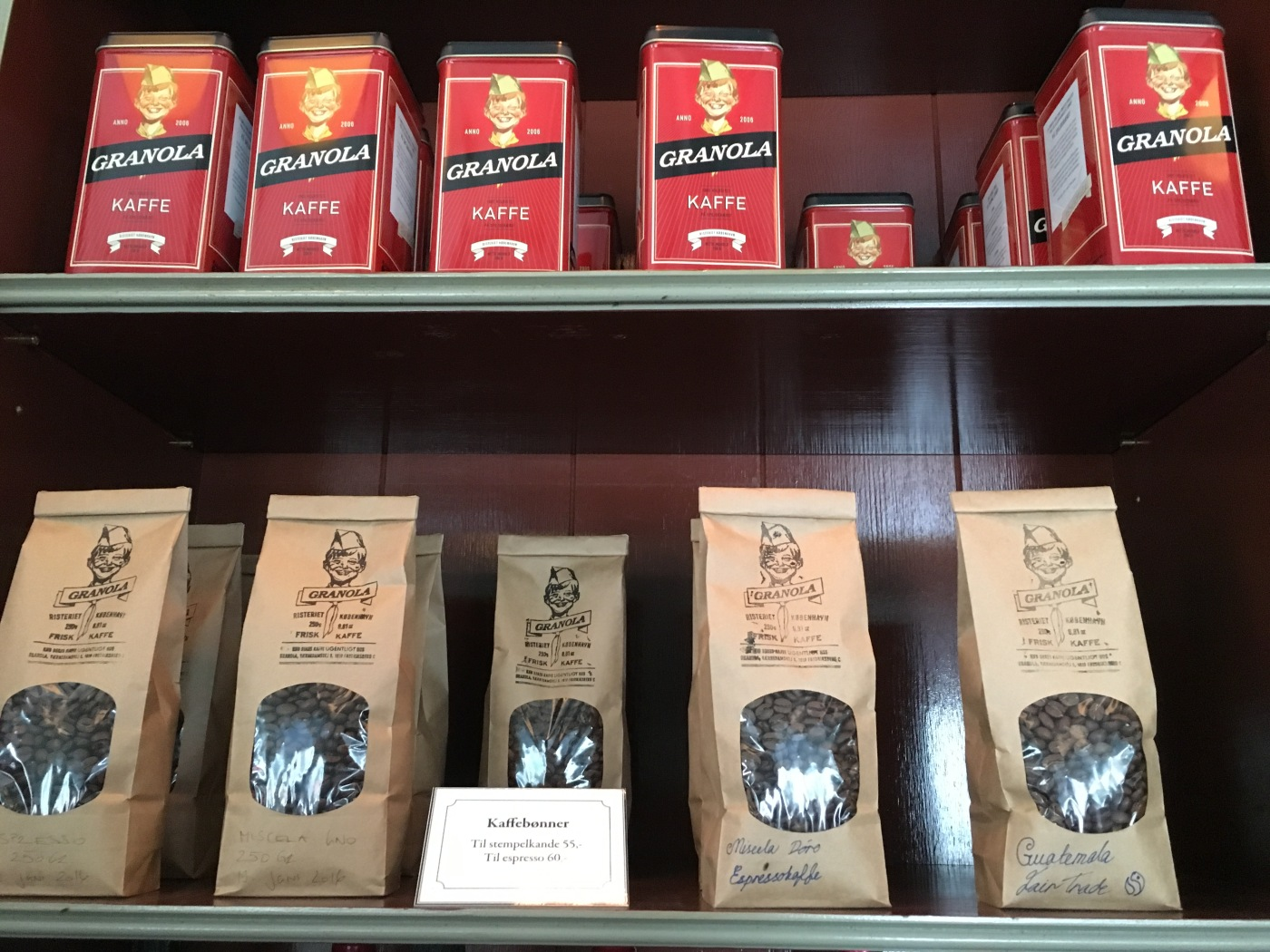50's Style Tins and Packages of Coffee Beans at Granola in Copenhagen, Denmark