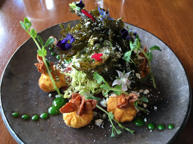 I Wonton You - Crispy Feta, Spinach and Sun Dried Tomato Wontons at Frogmore Creek in Tasmania