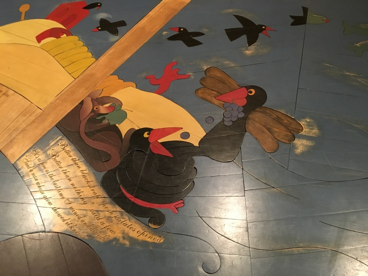 A Flawed History of Tasmanian Wine - The Wood Inlaid Floor at Frogmore Creek Winery in Tasmania