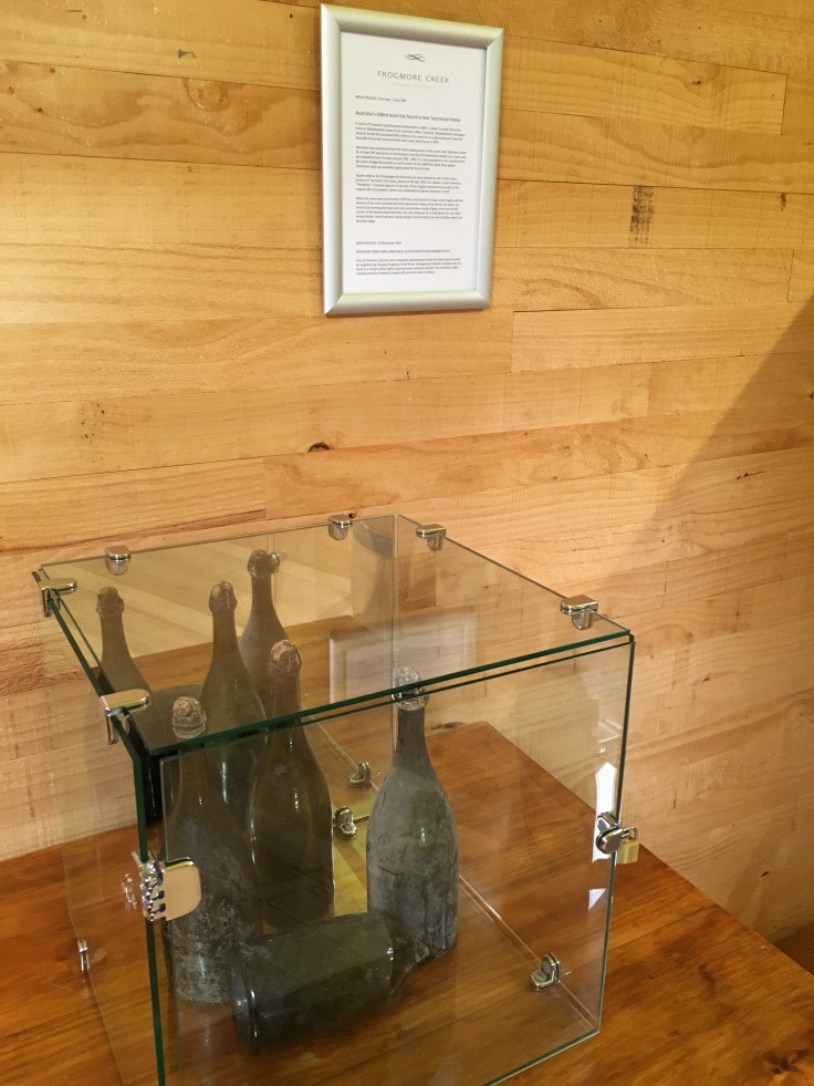 Hand Blown Wine Bottles From the 1840s on Display at Frogmore Creek Winery in Tasmania