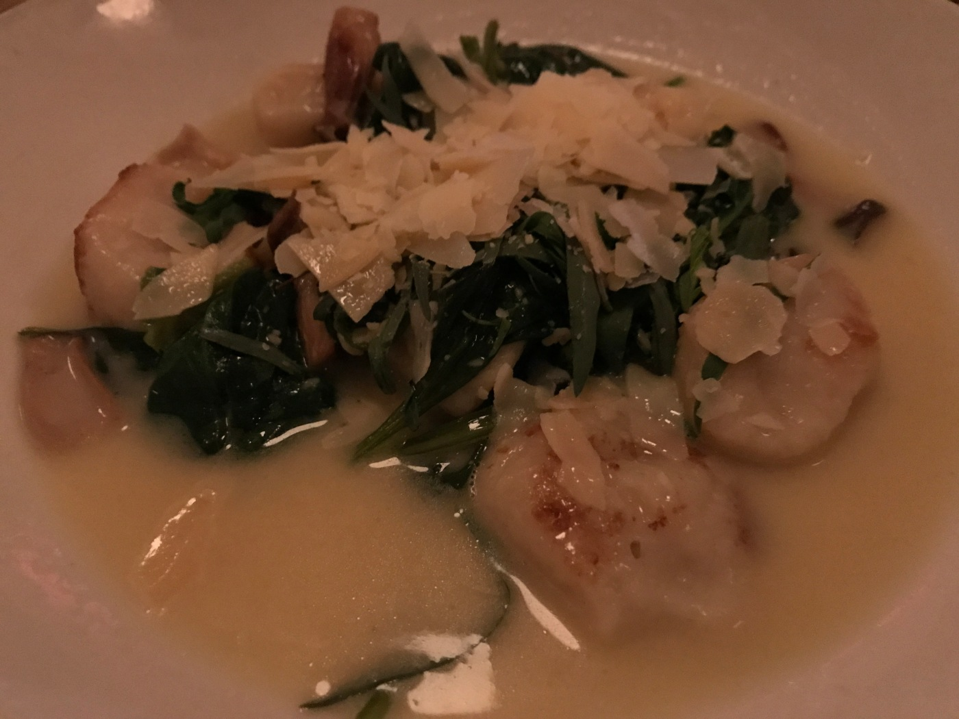 Potato Dumplings Served with King Trumpet Mushrooms, Spinach and Tarragon at Mayfield Bakery in Palo Alto, California