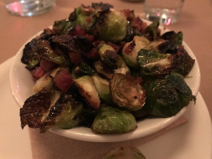 Roasted Brussels Sprouts Served with Hobb's Applewood Bacon Jus at Mayfield Bakery in Palo Alto, California