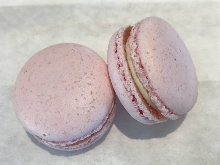 A Pair of Lovely Rose Macarons at Voyageur du Temps in Los Altos, California