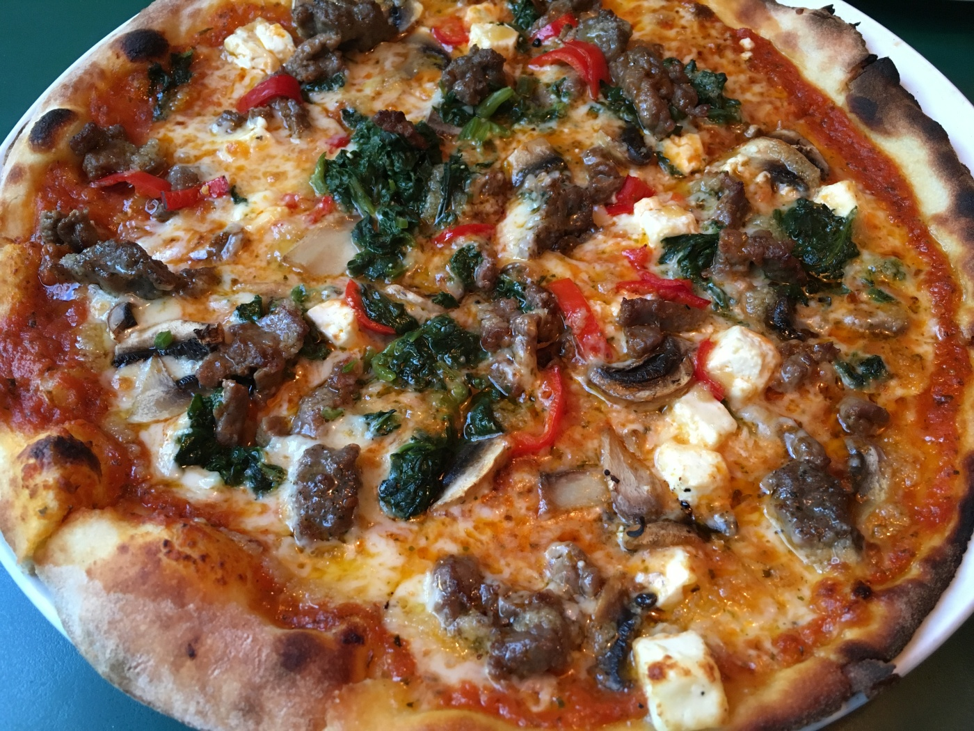 "#17 the ""HK Special"" Pizza - Steak, Meatballs, Spinach, Feta, Mushrooms, Garlic and Chili at Hell's Kitchen in Oslo, Norway"