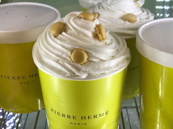 We're in Heaven Where Ice Cream is Topped with Baby Macarons at Pierre Hermé in Paris, France