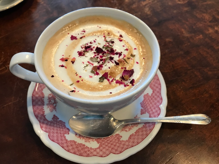 Our Special One of a Kind Pumpkin Rose Latte From Cream Parlor in Miami, Florida