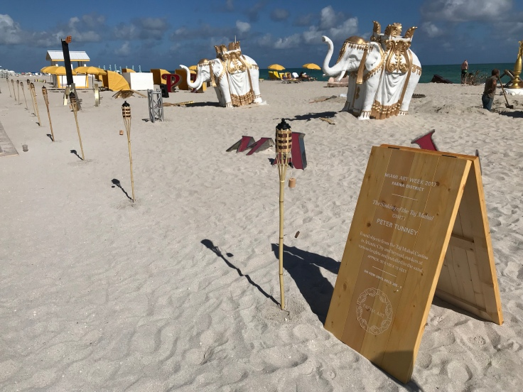 All That Glitters is Old Gold on the Beach - Peter Tunney's Art Installation on Faena Beach in Miami, Florida