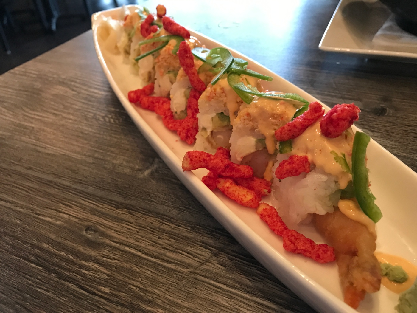 Packin' Quite a Crunch - The Flamin' Hot Cheetos Roll at Sushi Confidential in Campbell, California