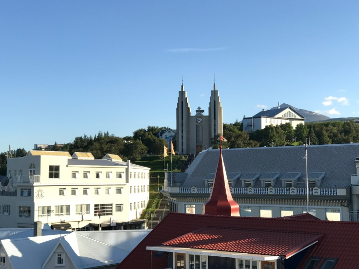 Akureyrarkirkja as Seen From Strikið's Terrace in Akureyri, Iceland