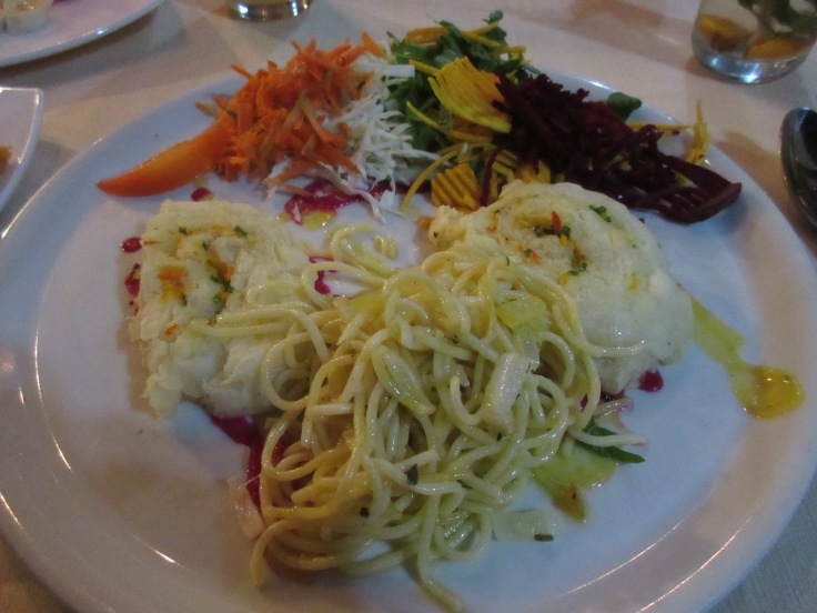 Great Balls of Boliche - Boiled Yucca and Yellow Sweet Potatoes With Brower (Spaghetti with Garlic, Pepperoncini and Olive Oil) at El Romero Vegetarian Restaurant in Las Terrazas, Cuba