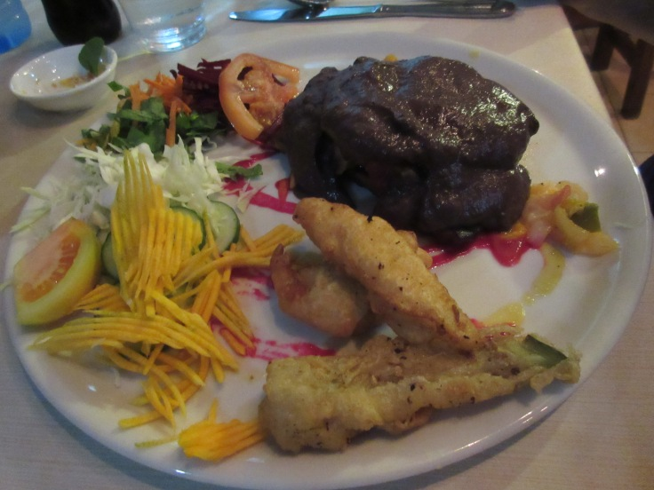 El Romero Eco Restaurant's Super Romero in Las Terrazas, Cuba - Seitan Steak (Baked Eggplant Stuffed With Vegetables) in a Wine Sauce Served With Tempura and Marinated Veggies