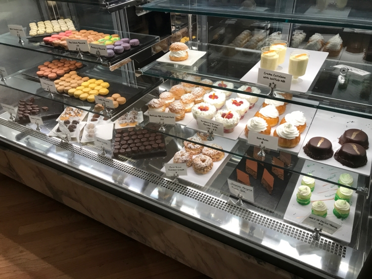 A photo of the desserts case featuring everything from macarons to dulce de leche mousse at Morsey's Farmhouse Kitchen in Los Altos, California.