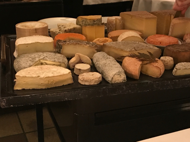 A photo of the fromage (cheese) cart at Le Taillevent in Paris, France.
