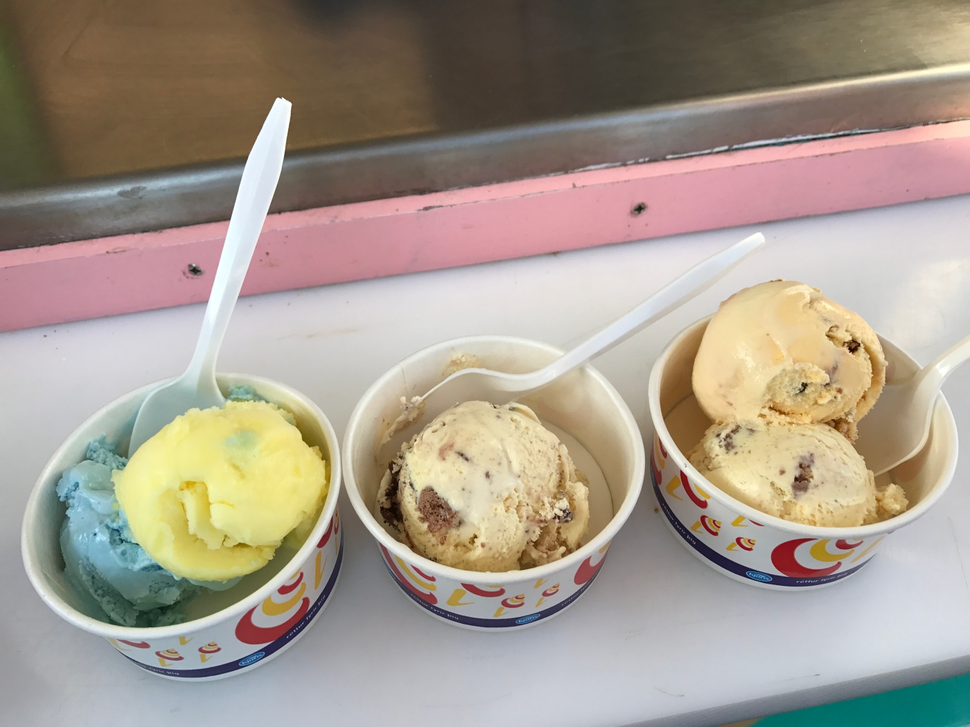 Blue Smurf, Vegan Passion Fruit Sorbet, Cookies and a Scoop of Banana Chocolate Ice Cream at Ís Kofinn in Stykkishólmur, Iceland