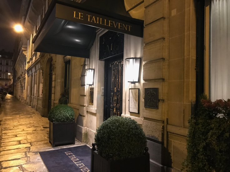 A photo of the exterior of Le Taillevent restaurant in Paris, France.