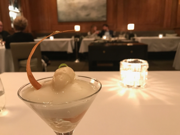 A photo of a palate cleanser at Le Taillevent in Paris, France.