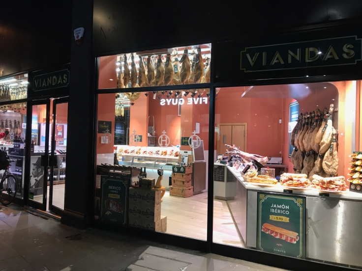 A photo of the outside of Viandas De Salamanca's shop and storefront in London, England.