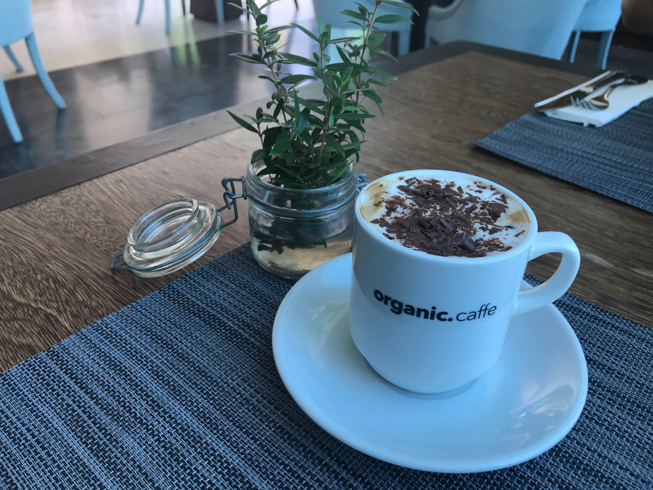 A photo of a cappuccino covered with chocolate shavings sitting beside an herb plant on a table at Organic Caffe in Estoril, Portugal.